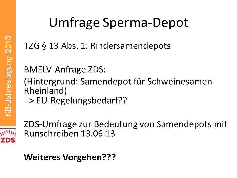 KB-Jahrestagung 2013 Umfrage Sperma-Depot TZG § 13 Abs.