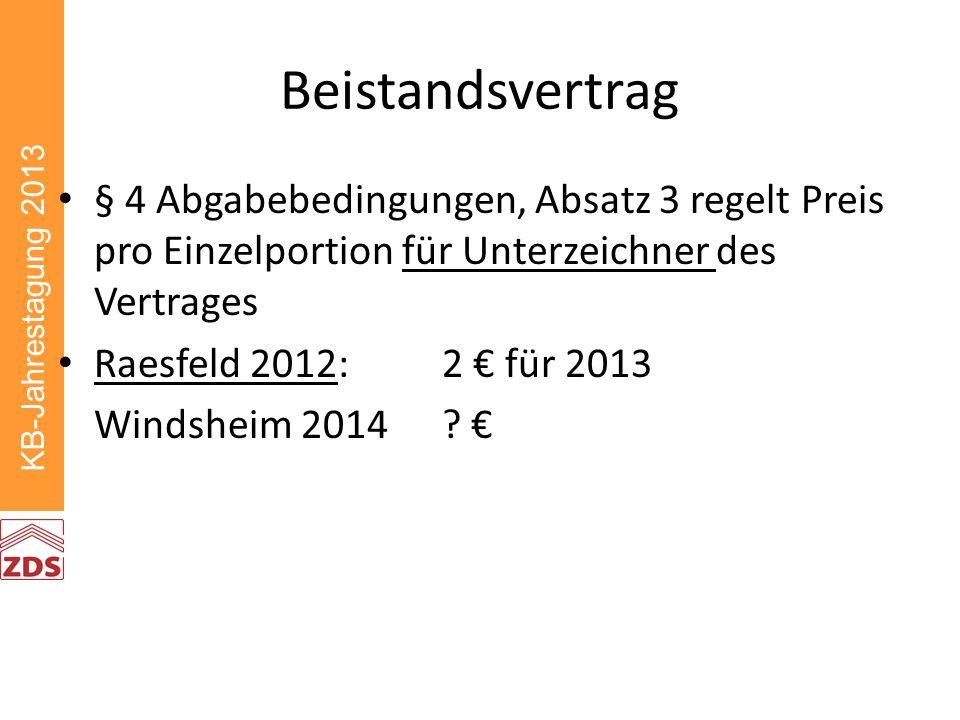 KB-Jahrestagung 2013 Beistandsvertrag § 4 Abgabebedingungen, Absatz 3 regelt Preis pro Einzelportion für Unterzeichner des Vertrages Raesfeld 2012: 2 für 2013 Windsheim 2014