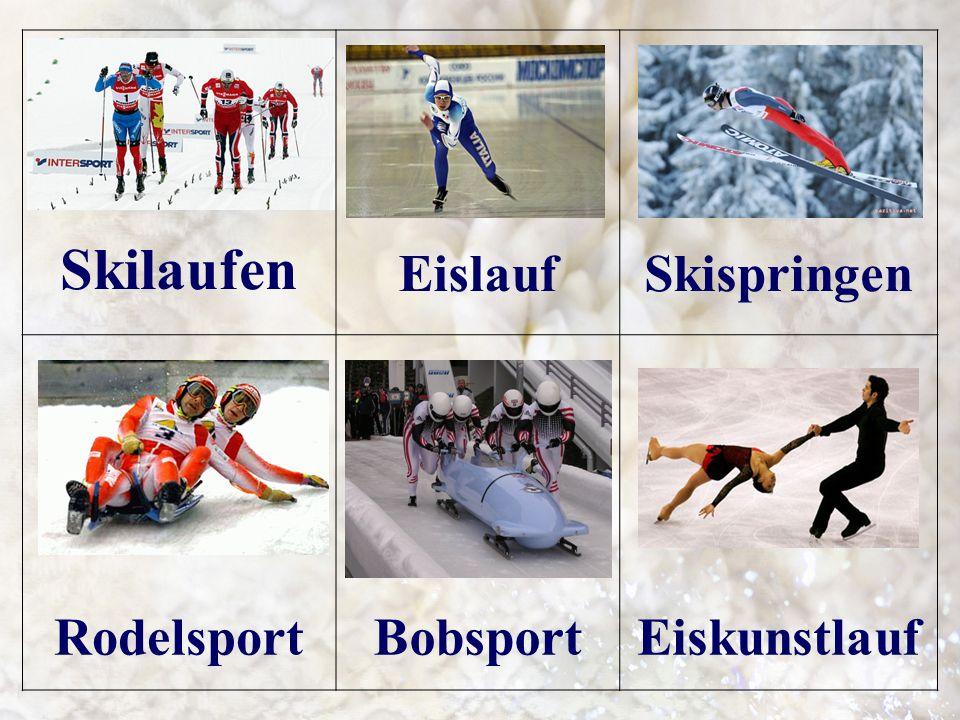 Skilaufen EislaufSkispringen RodelsportBobsportEiskunstlauf