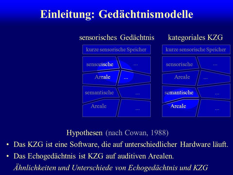 Echogedächtnis Cowan (1984): kurzer auditiver Speicher: Phänomene bis 200 ms Maskierung Informationsintegration Persistenz langer auditiver Speicher (ca.