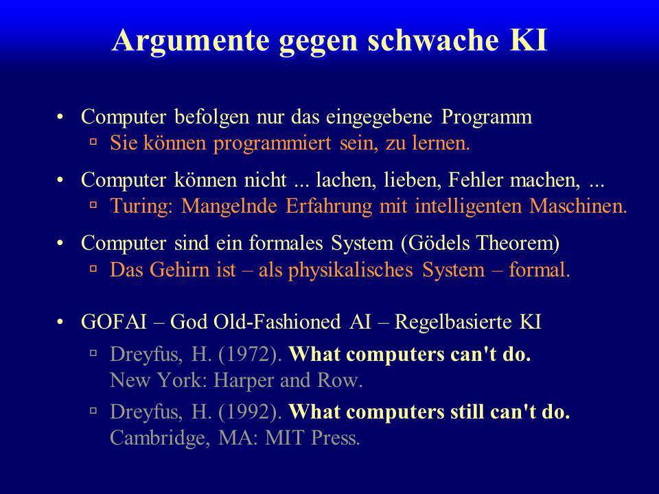 Schwache KI –Maschinen bauen, die intelligentes Verhalten zeigen (die sich verhalten als ob) Starke KI –Maschinen bauen, die intelligent sind machines