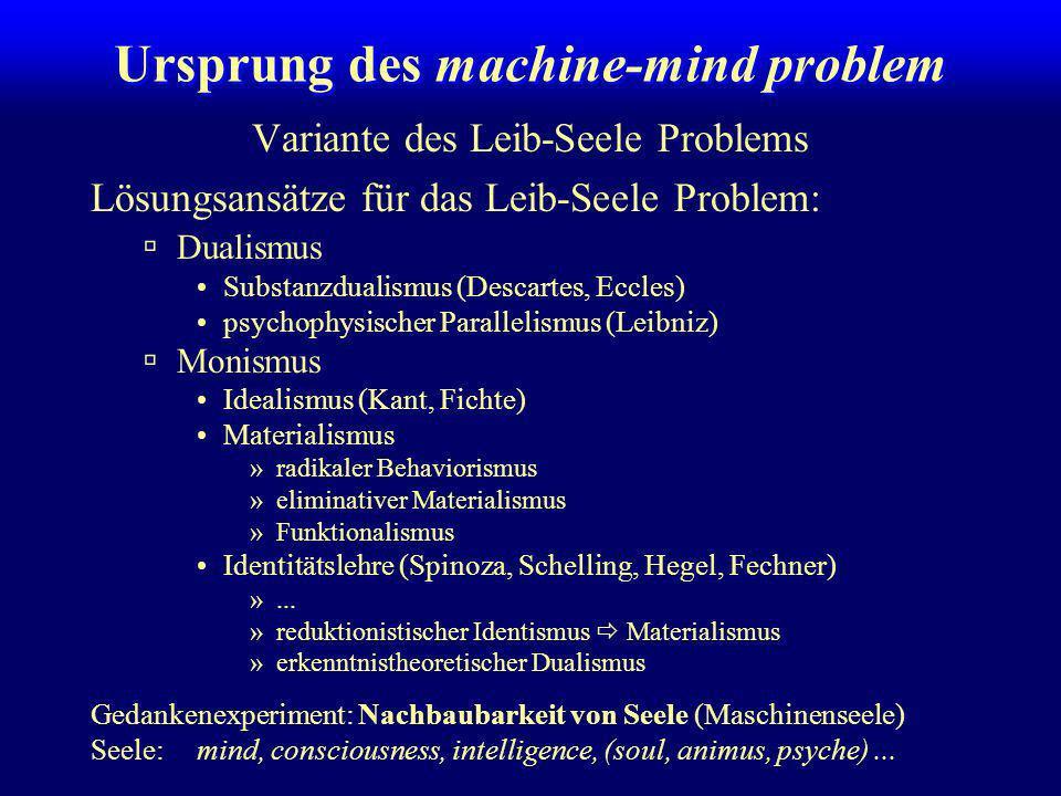 CK 99 The machine-mind problem Christian Kaernbach Institut für Allgemeine Psychologie Universität Leipzig Ihr redet doch nicht etwa über mich, oder?