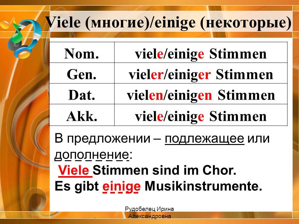 Viele (многие)/einige (некоторые) Nom.viele/einige Stimmen Gen.vieler/einiger Stimmen Dat.vielen/einigen Stimmen Akk.viele/einige Stimmen В предложени