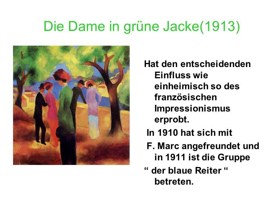 Die Dame in grüne Jacke(1913) Hat den entscheidenden Einfluss wie einheimisch so des französischen Impressionismus erprobt. In 1910 hat sich mit F. Ma