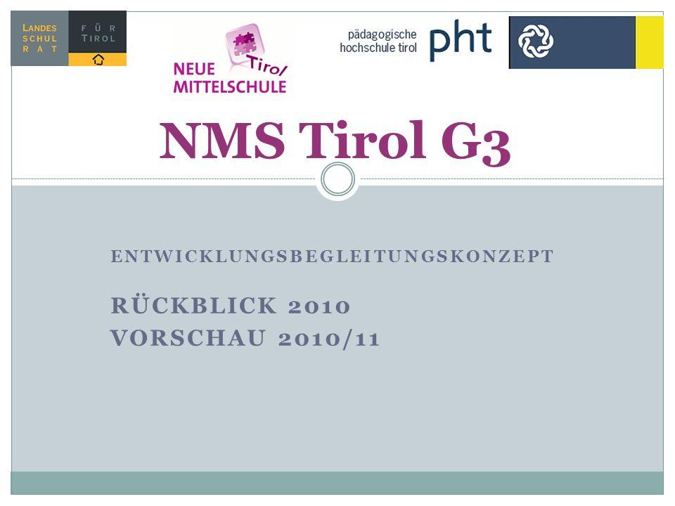 ENTWICKLUNGSBEGLEITUNGSKONZEPT RÜCKBLICK 2010 VORSCHAU 2010/11 NMS Tirol G3