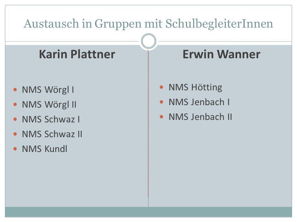 Austausch in Gruppen mit SchulbegleiterInnen Karin Plattner NMS Wörgl I NMS Wörgl II NMS Schwaz I NMS Schwaz II NMS Kundl Erwin Wanner NMS Hötting NMS Jenbach I NMS Jenbach II