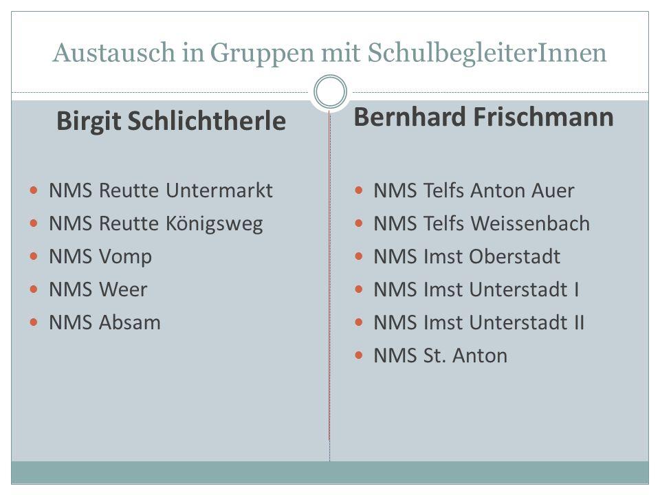Austausch in Gruppen mit SchulbegleiterInnen Birgit Schlichtherle NMS Reutte Untermarkt NMS Reutte Königsweg NMS Vomp NMS Weer NMS Absam Bernhard Fris
