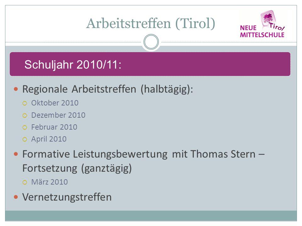 Arbeitstreffen (Tirol) Regionale Arbeitstreffen (halbtägig): Oktober 2010 Dezember 2010 Februar 2010 April 2010 Formative Leistungsbewertung mit Thomas Stern – Fortsetzung (ganztägig) März 2010 Vernetzungstreffen Schuljahr 2010/11: