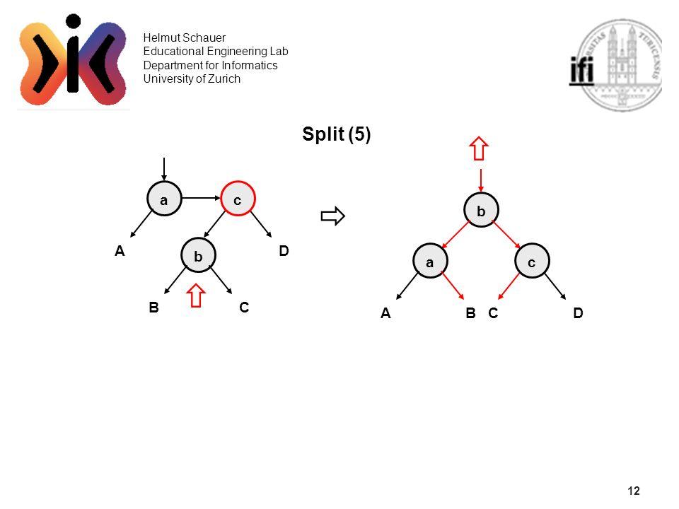 12 Helmut Schauer Educational Engineering Lab Department for Informatics University of Zurich Split (5) A a CB b D c A b BA a CD c