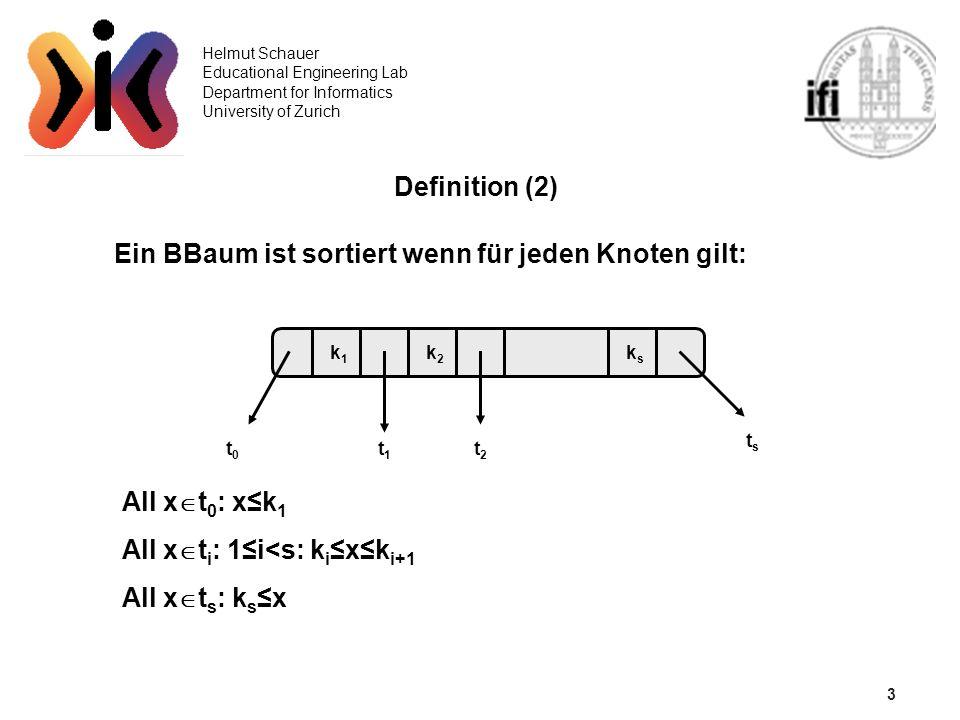 3 Helmut Schauer Educational Engineering Lab Department for Informatics University of Zurich Definition (2) Ein BBaum ist sortiert wenn für jeden Knoten gilt: tsts t2t2 t0t0 t1t1 ksks k2k2 k1k1 All x t 0 : xk 1 All x t i : 1i<s: k i xk i+1 All x t s : k s x