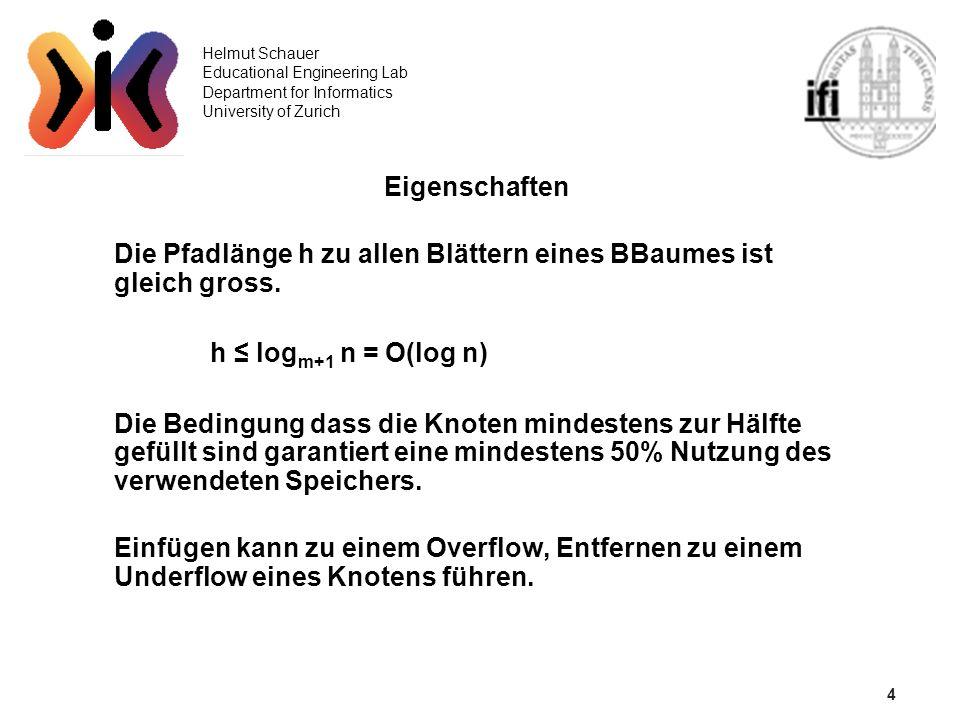 4 Helmut Schauer Educational Engineering Lab Department for Informatics University of Zurich Eigenschaften Die Pfadlänge h zu allen Blättern eines BBaumes ist gleich gross.