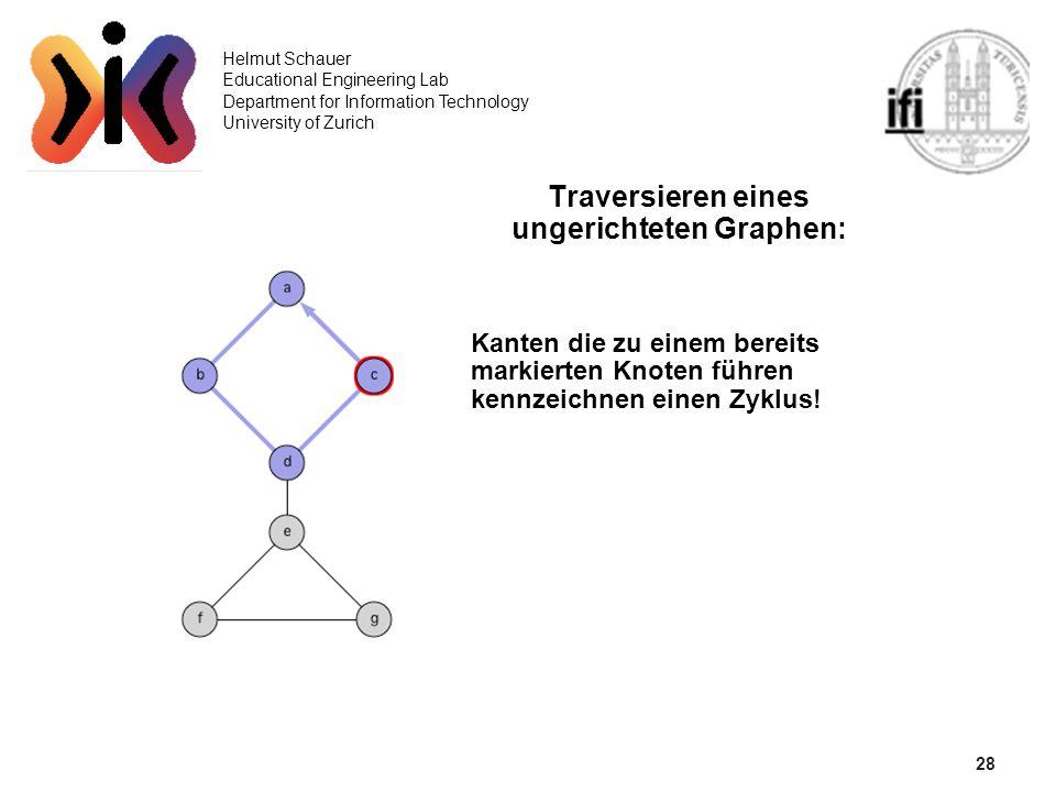 28 Helmut Schauer Educational Engineering Lab Department for Information Technology University of Zurich Traversieren eines ungerichteten Graphen: Kan