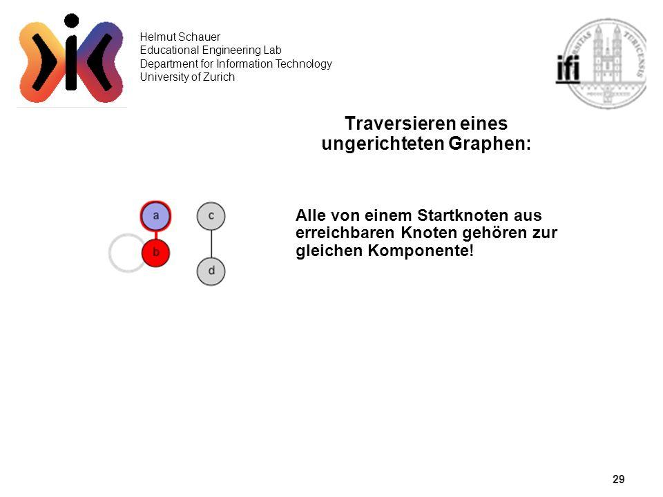 29 Helmut Schauer Educational Engineering Lab Department for Information Technology University of Zurich Traversieren eines ungerichteten Graphen: All