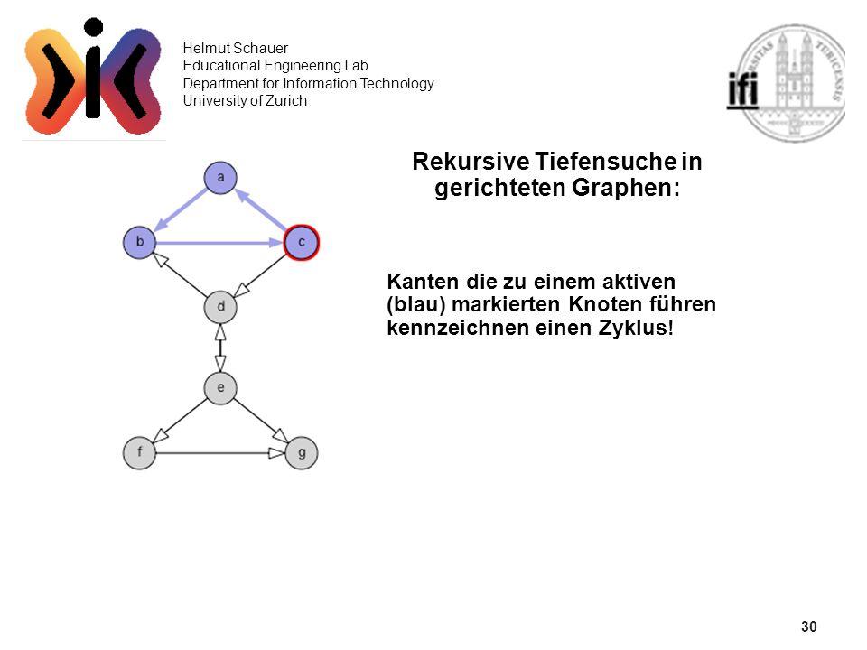 30 Helmut Schauer Educational Engineering Lab Department for Information Technology University of Zurich Rekursive Tiefensuche in gerichteten Graphen: