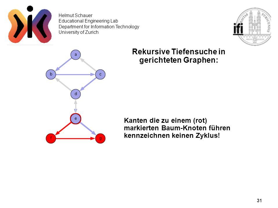 31 Helmut Schauer Educational Engineering Lab Department for Information Technology University of Zurich Rekursive Tiefensuche in gerichteten Graphen: