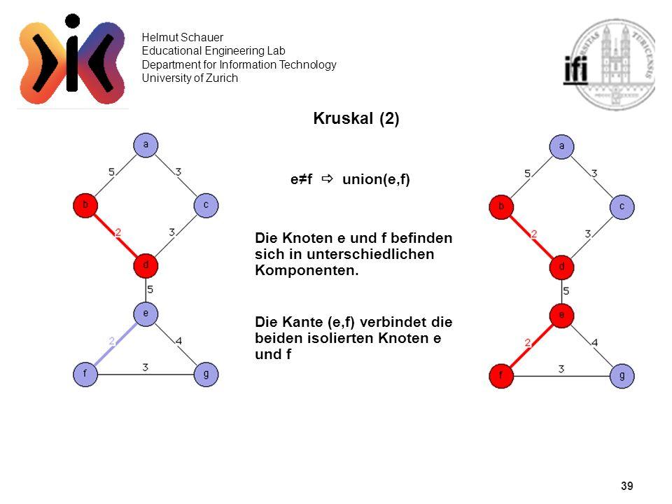 39 Helmut Schauer Educational Engineering Lab Department for Information Technology University of Zurich Kruskal (2) ef union(e,f) Die Knoten e und f