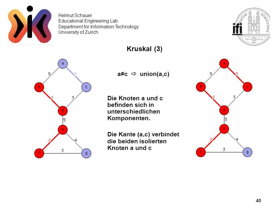 40 Helmut Schauer Educational Engineering Lab Department for Information Technology University of Zurich Kruskal (3) ac union(a,c) Die Knoten a und c