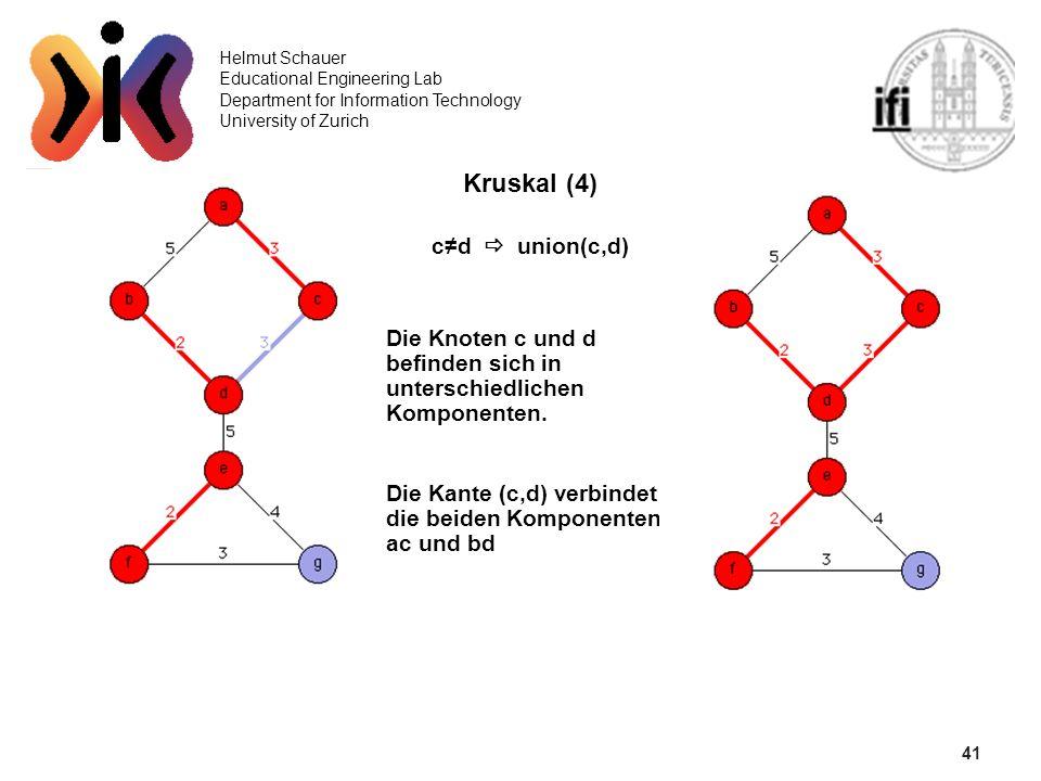 41 Helmut Schauer Educational Engineering Lab Department for Information Technology University of Zurich Kruskal (4) cd union(c,d) Die Knoten c und d