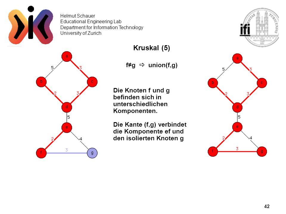 42 Helmut Schauer Educational Engineering Lab Department for Information Technology University of Zurich Kruskal (5) fg union(f,g) Die Knoten f und g
