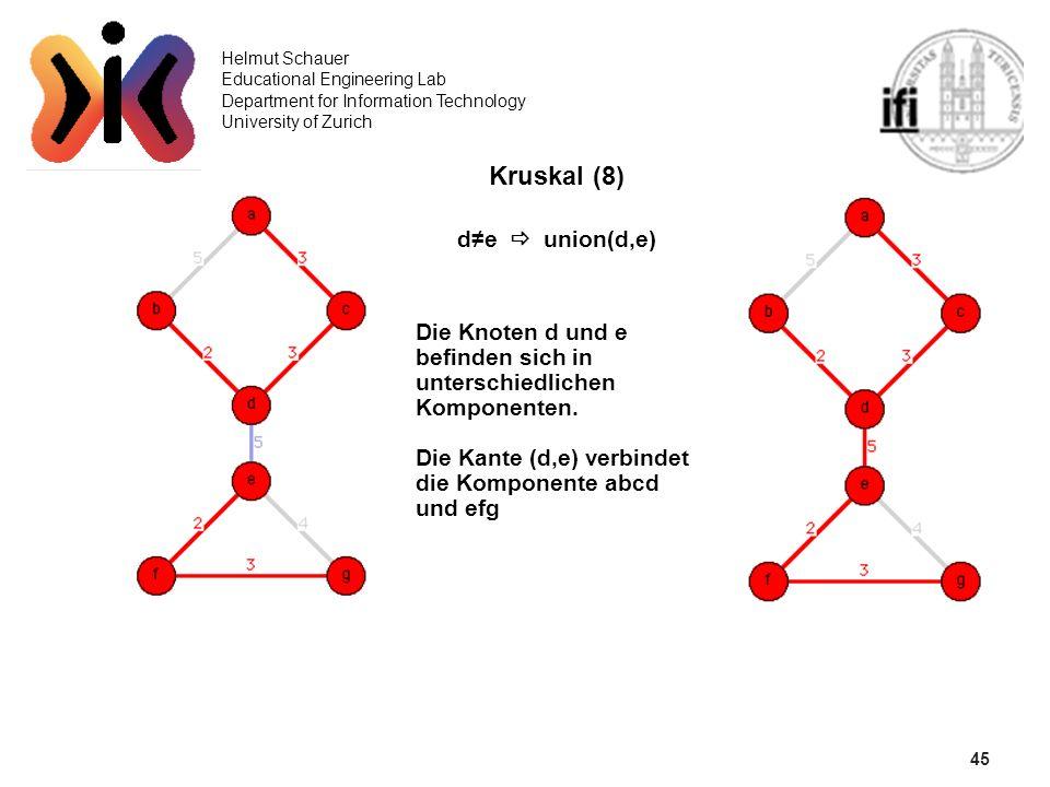 45 Helmut Schauer Educational Engineering Lab Department for Information Technology University of Zurich Kruskal (8) de union(d,e) Die Knoten d und e