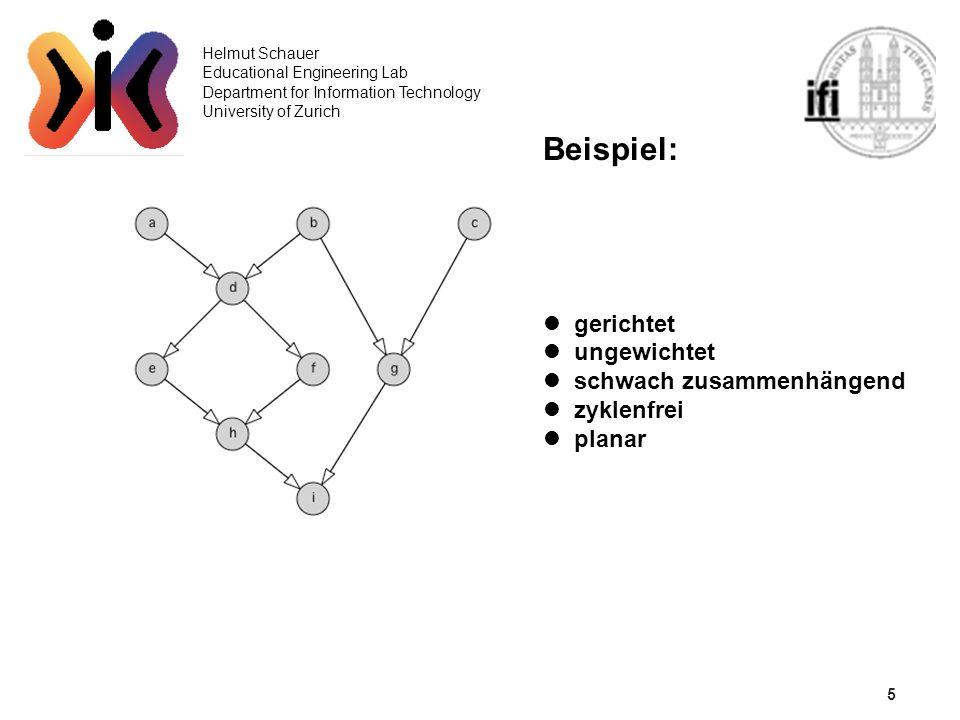 5 Helmut Schauer Educational Engineering Lab Department for Information Technology University of Zurich Beispiel: gerichtet ungewichtet schwach zusamm