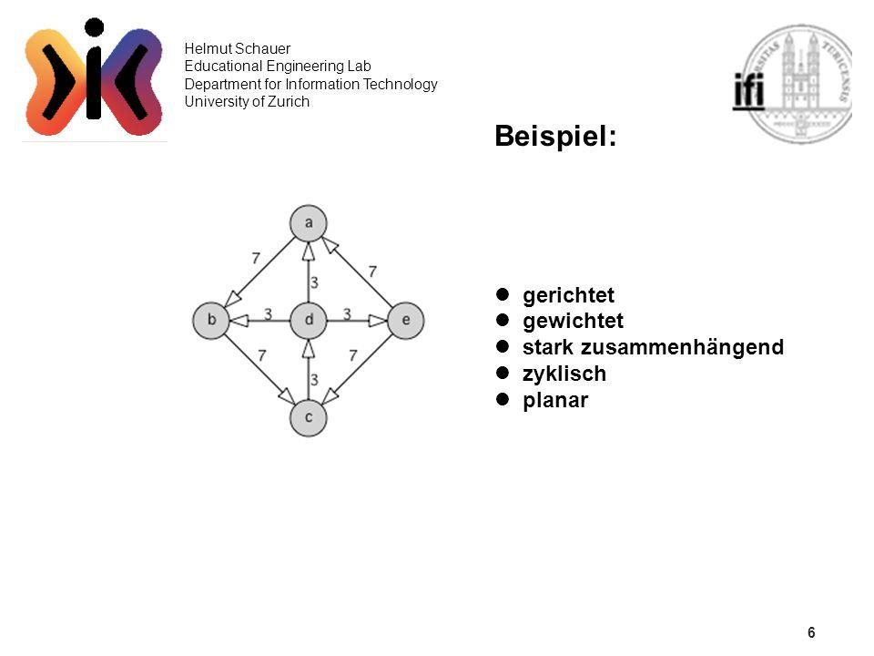 6 Helmut Schauer Educational Engineering Lab Department for Information Technology University of Zurich Beispiel: gerichtet gewichtet stark zusammenhä