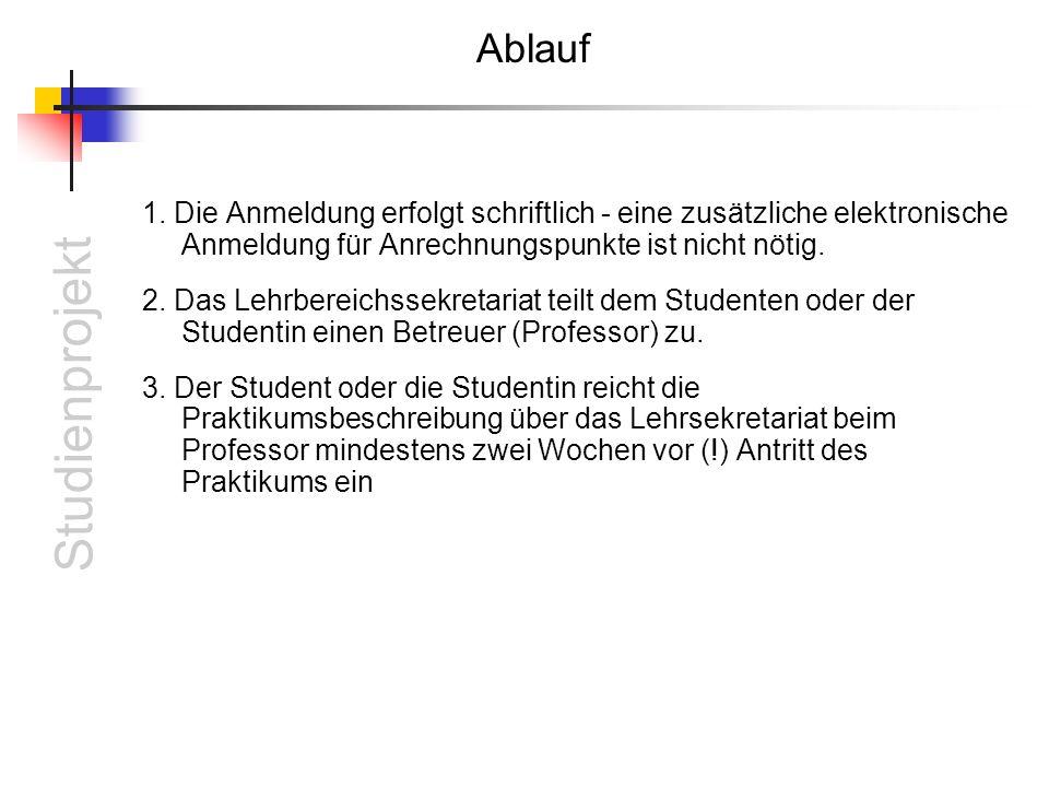 Studienprojekt Ablauf 1.