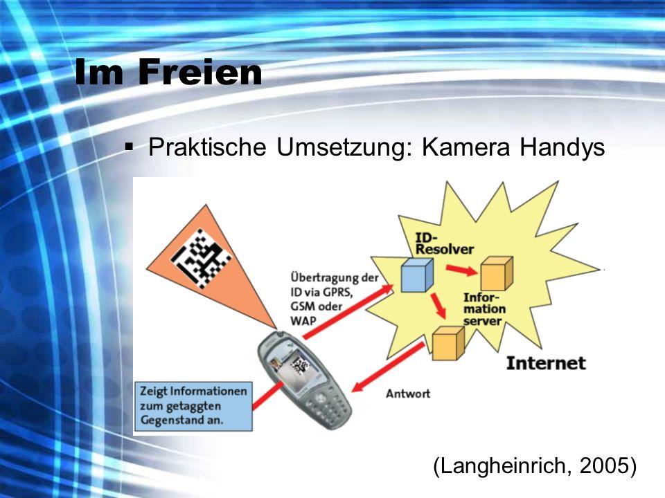 (Langheinrich, 2005) Im Freien Praktische Umsetzung: Kamera Handys