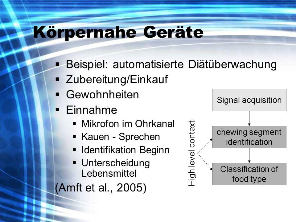 Körpernahe Geräte Beispiel: automatisierte Diätüberwachung Zubereitung/Einkauf Gewohnheiten Einnahme Mikrofon im Ohrkanal Kauen - Sprechen Identifikat
