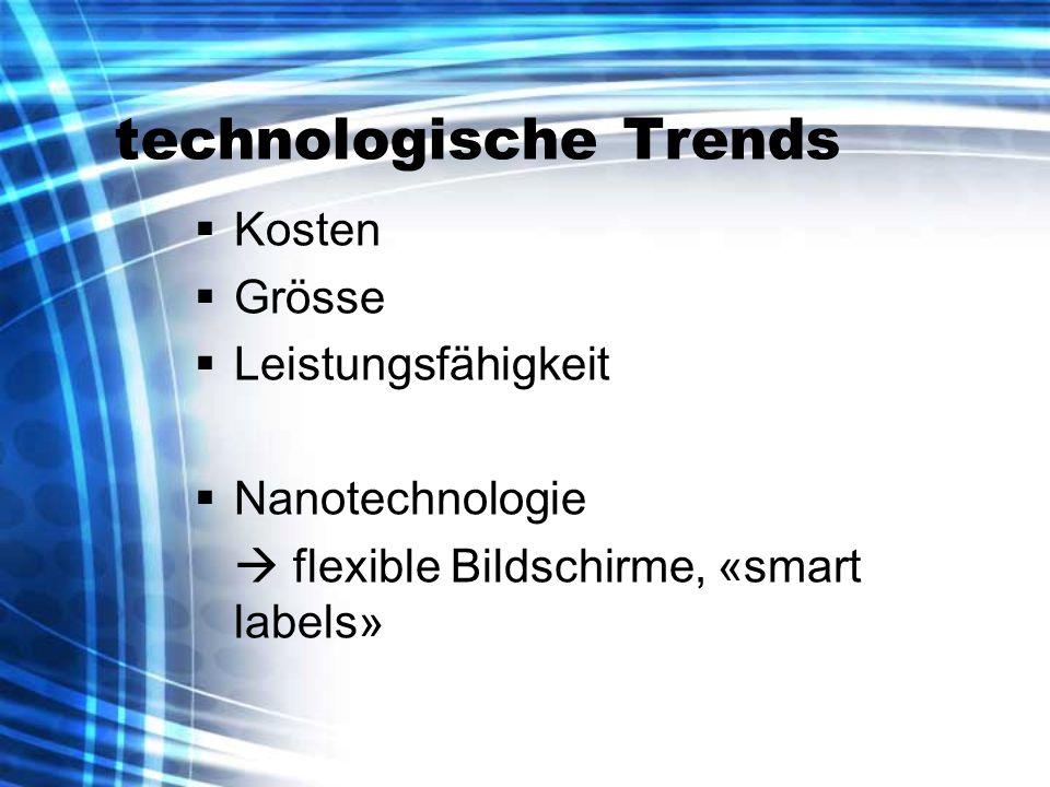 technologische Trends Kosten Grösse Leistungsfähigkeit Nanotechnologie flexible Bildschirme, «smart labels»