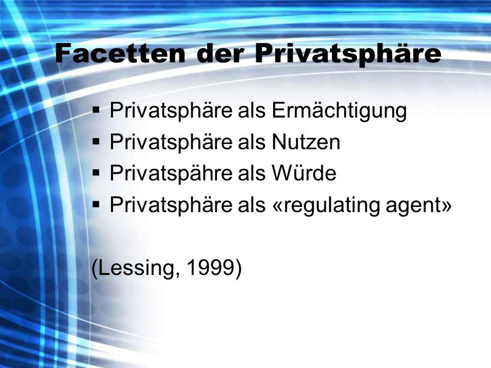 Facetten der Privatsphäre Privatsphäre als Ermächtigung Privatsphäre als Nutzen Privatspähre als Würde Privatsphäre als «regulating agent» (Lessing, 1999)