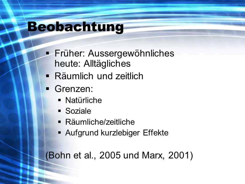 Beobachtung Früher: Aussergewöhnliches heute: Alltägliches Räumlich und zeitlich Grenzen: Natürliche Soziale Räumliche/zeitliche Aufgrund kurzlebiger Effekte (Bohn et al., 2005 und Marx, 2001)