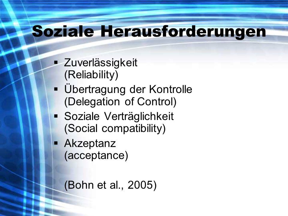 Soziale Herausforderungen Zuverlässigkeit (Reliability) Übertragung der Kontrolle (Delegation of Control) Soziale Verträglichkeit (Social compatibility) Akzeptanz (acceptance) (Bohn et al., 2005)