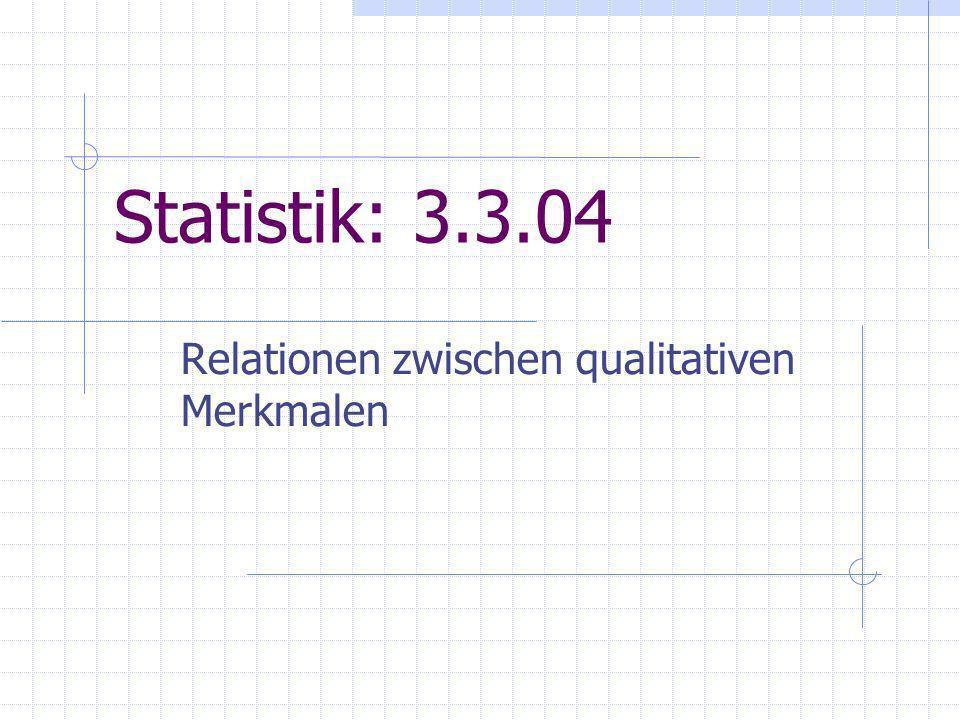 Statistik: 3.3.04 Relationen zwischen qualitativen Merkmalen