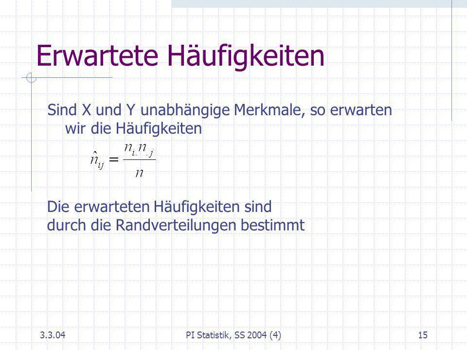 3.3.04PI Statistik, SS 2004 (4)15 Erwartete Häufigkeiten Sind X und Y unabhängige Merkmale, so erwarten wir die Häufigkeiten Die erwarteten Häufigkeit