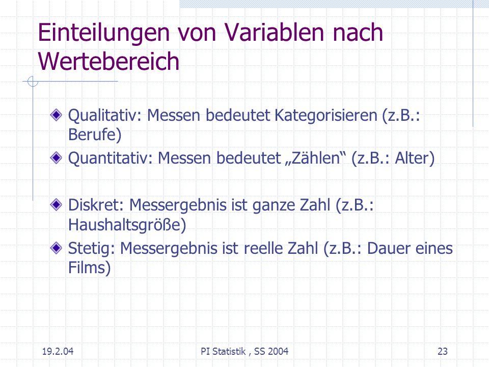 19.2.04PI Statistik, SS 200423 Einteilungen von Variablen nach Wertebereich Qualitativ: Messen bedeutet Kategorisieren (z.B.: Berufe) Quantitativ: Mes