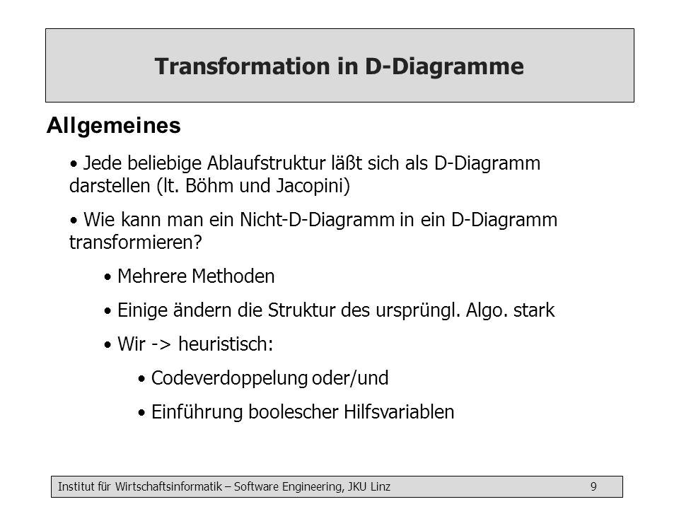 Institut für Wirtschaftsinformatik – Software Engineering, JKU Linz 9 Transformation in D-Diagramme Allgemeines Jede beliebige Ablaufstruktur läßt sic