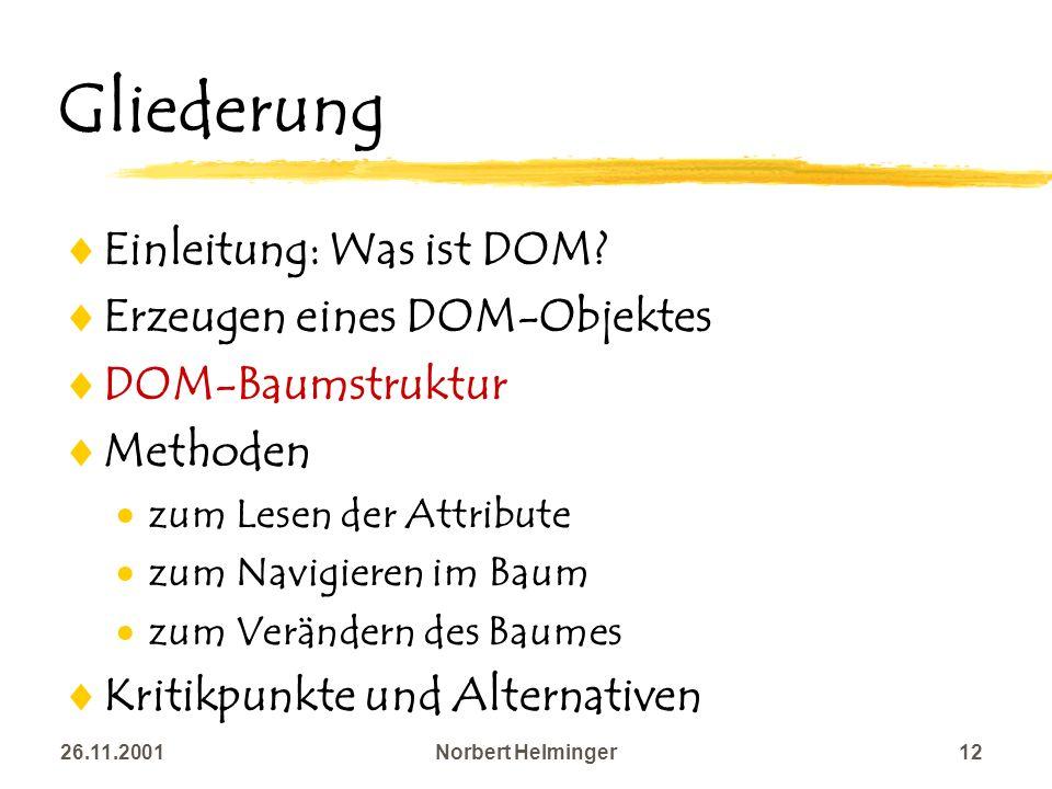 26.11.2001Norbert Helminger12 Gliederung Einleitung: Was ist DOM? Erzeugen eines DOM-Objektes DOM-Baumstruktur Methoden zum Lesen der Attribute zum Na