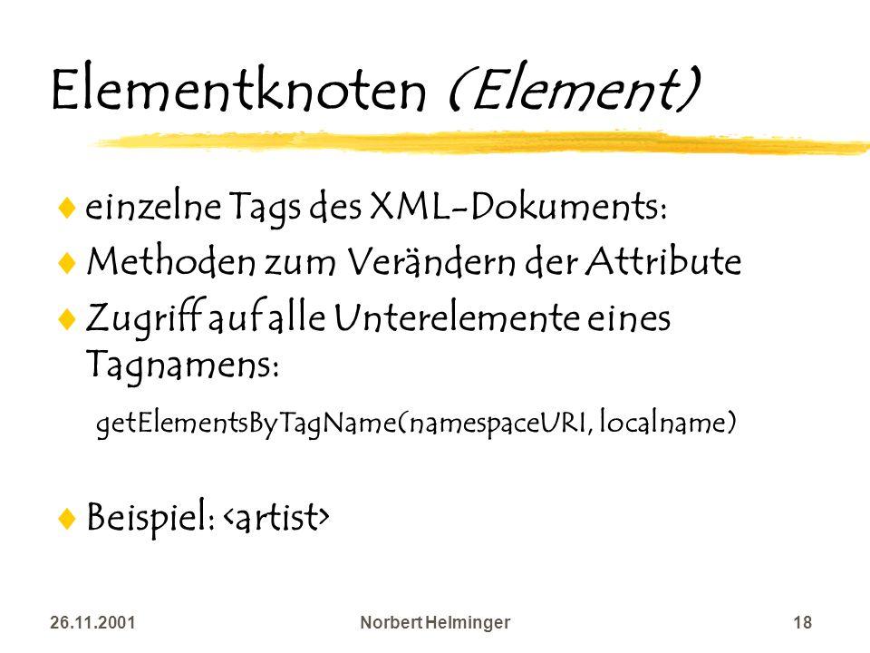 26.11.2001Norbert Helminger18 Elementknoten (Element) einzelne Tags des XML-Dokuments: Methoden zum Verändern der Attribute Zugriff auf alle Unterelem