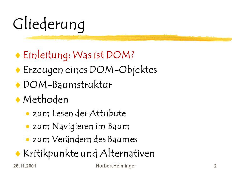 26.11.2001Norbert Helminger2 Gliederung Einleitung: Was ist DOM? Erzeugen eines DOM-Objektes DOM-Baumstruktur Methoden zum Lesen der Attribute zum Nav
