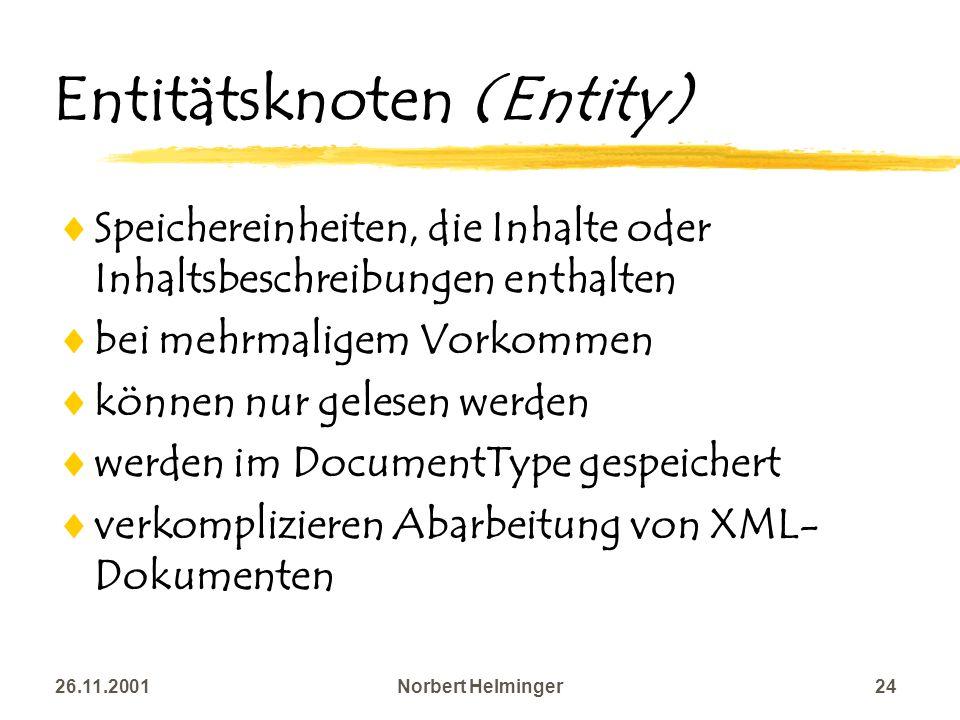 26.11.2001Norbert Helminger24 Entitätsknoten (Entity) Speichereinheiten, die Inhalte oder Inhaltsbeschreibungen enthalten bei mehrmaligem Vorkommen kö
