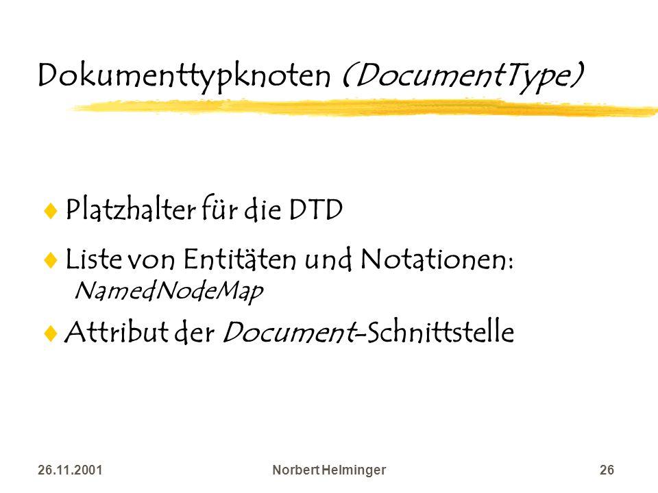 26.11.2001Norbert Helminger26 Dokumenttypknoten (DocumentType) Platzhalter für die DTD Liste von Entitäten und Notationen: NamedNodeMap Attribut der D