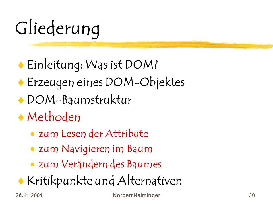 26.11.2001Norbert Helminger30 Gliederung Einleitung: Was ist DOM? Erzeugen eines DOM-Objektes DOM-Baumstruktur Methoden zum Lesen der Attribute zum Na