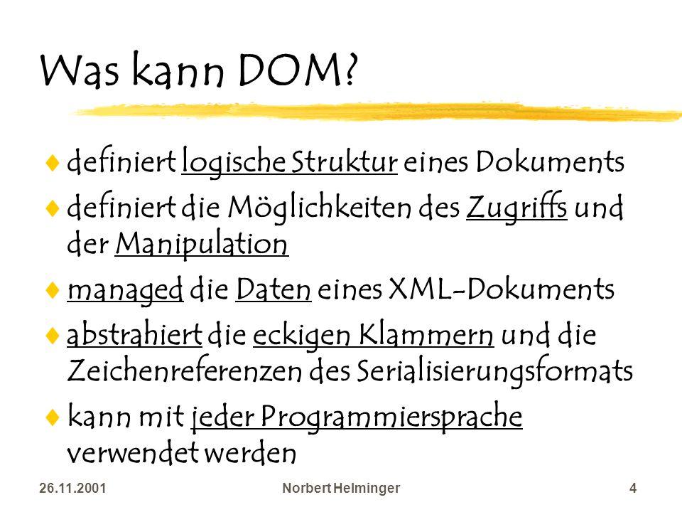 26.11.2001Norbert Helminger4 Was kann DOM? definiert logische Struktur eines Dokuments definiert die Möglichkeiten des Zugriffs und der Manipulation m