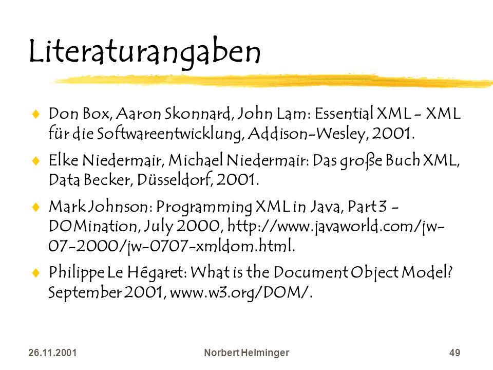 26.11.2001Norbert Helminger49 Literaturangaben Don Box, Aaron Skonnard, John Lam: Essential XML - XML für die Softwareentwicklung, Addison-Wesley, 200