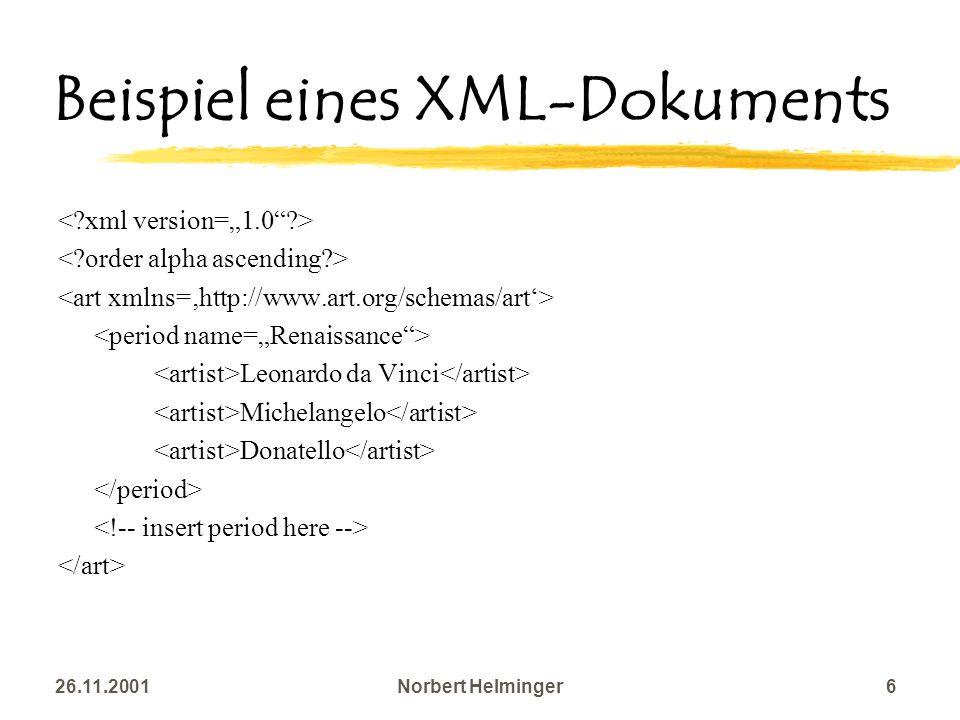 26.11.2001Norbert Helminger6 Beispiel eines XML-Dokuments Leonardo da Vinci Michelangelo Donatello