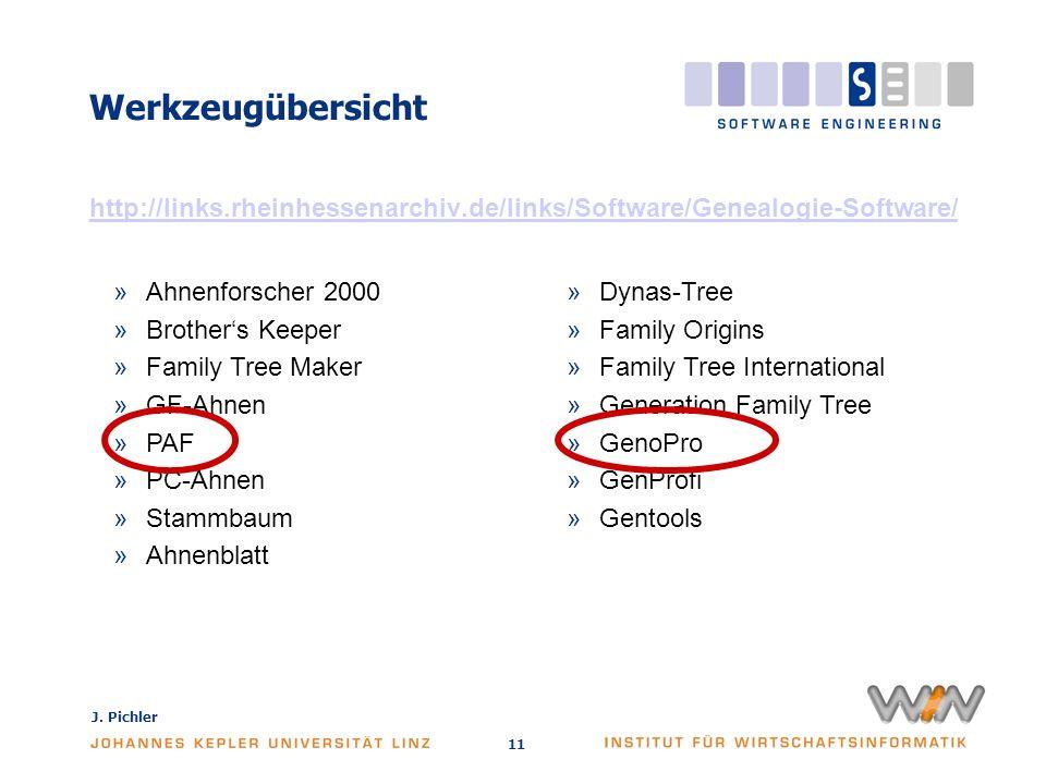 J. Pichler 11 Werkzeugübersicht http://links.rheinhessenarchiv.de/links/Software/Genealogie-Software/ »Ahnenforscher 2000 »Brothers Keeper »Family Tre