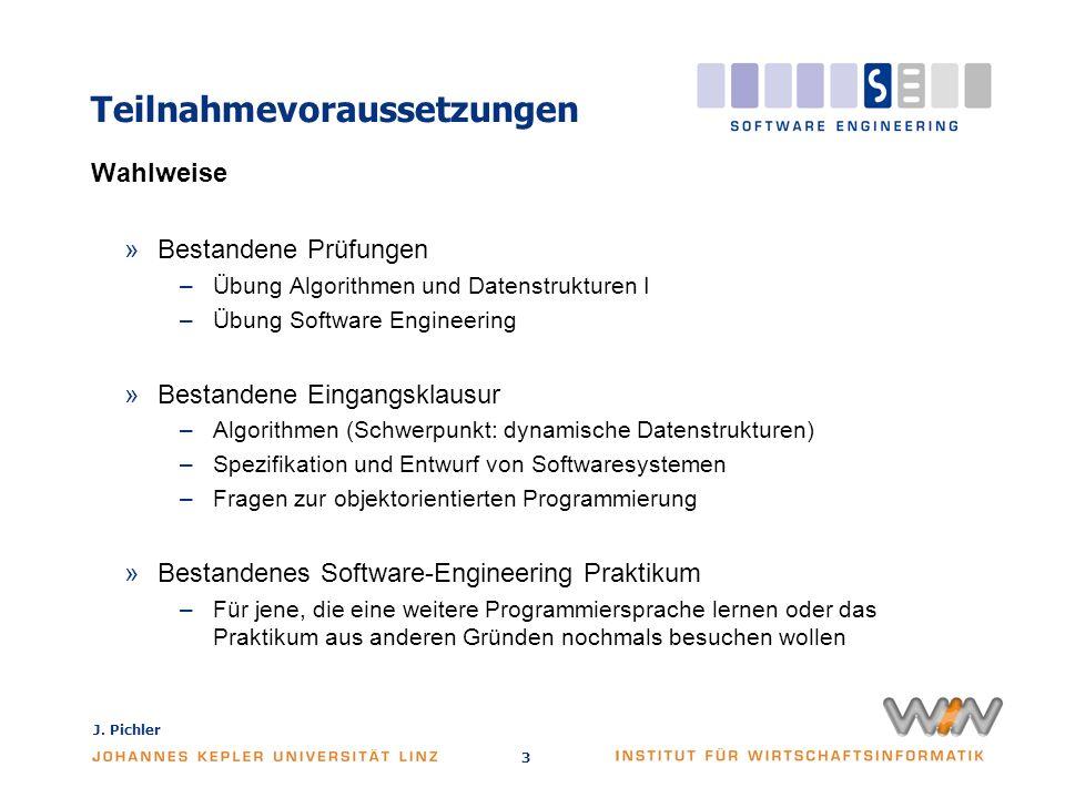 J. Pichler 3 Teilnahmevoraussetzungen Wahlweise »Bestandene Prüfungen –Übung Algorithmen und Datenstrukturen I –Übung Software Engineering »Bestandene