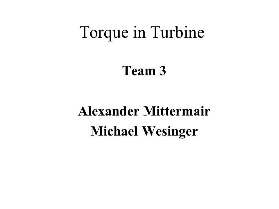 Torque in Turbine Team 3 Alexander Mittermair Michael Wesinger