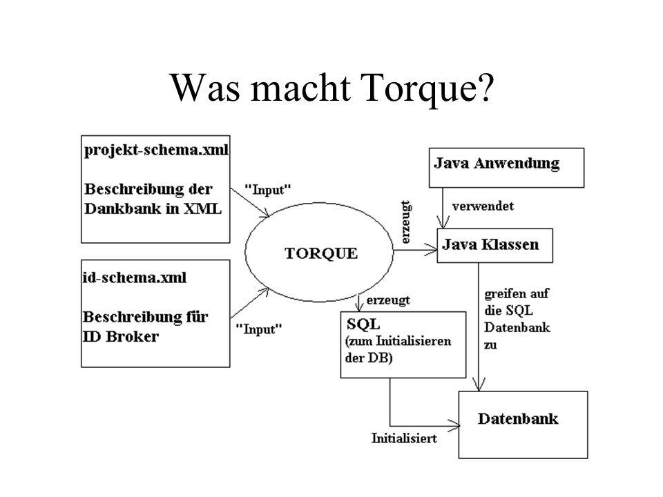 Datenbank und Tabellen erstellen Torque kann die Datenbank und alle zugehörigen Teile automatisch erstellen Voraussetzung: Databasedriver im classpath, sodass Torque sich mit Datenbank verbinden kann.